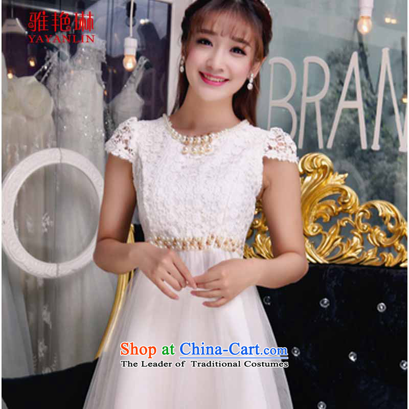 Ya Yun Lin autumn 2015 new temperament Sau San V-Neck lace dresses stitching irregular dresses female white?M