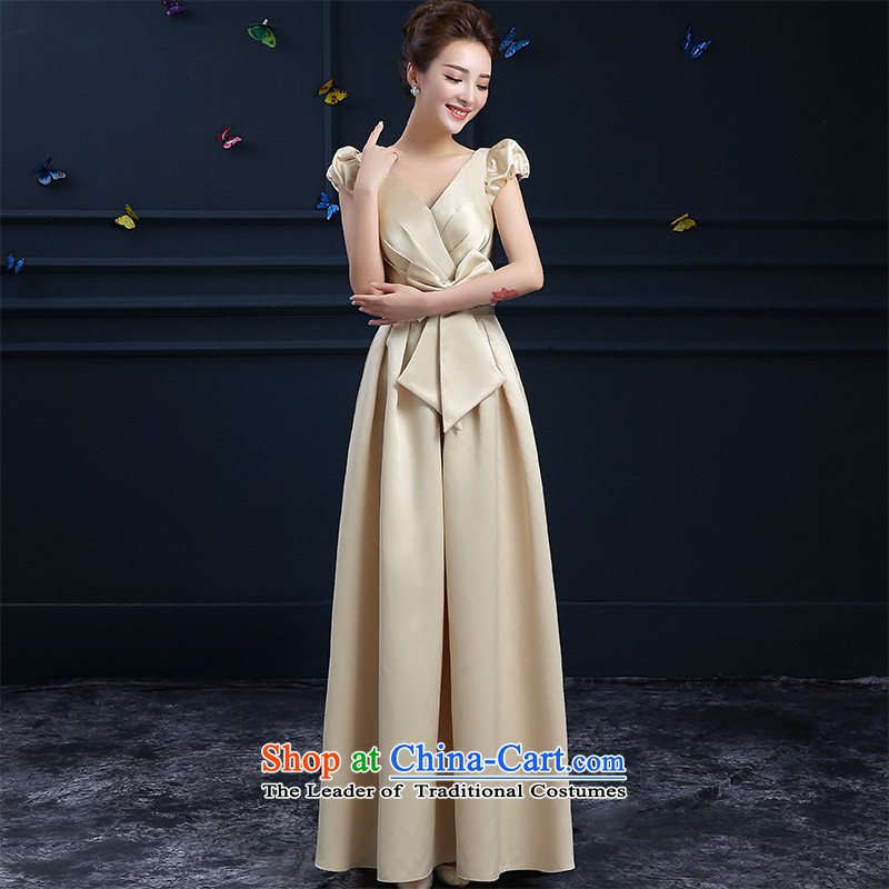 New stylish 2015 HUNNZ big red code bride bridesmaid banquet dinner dress deep Sau San champagne long?M