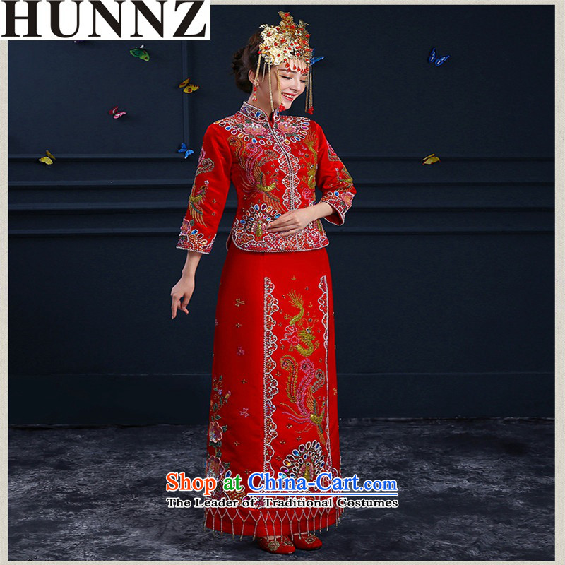 The spring and summer of 2015 New HUNNZ) Wedding dress bride bows wedding gown services qipao Chinese Sau Wo Service RED?M