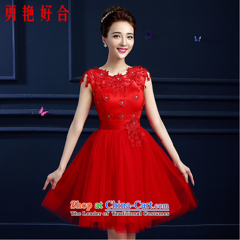 Yong-yeon and bows Service Bridal summer short of a small shoulder dresses field 2015 new red marriage video thin banquet dinner dress red?L