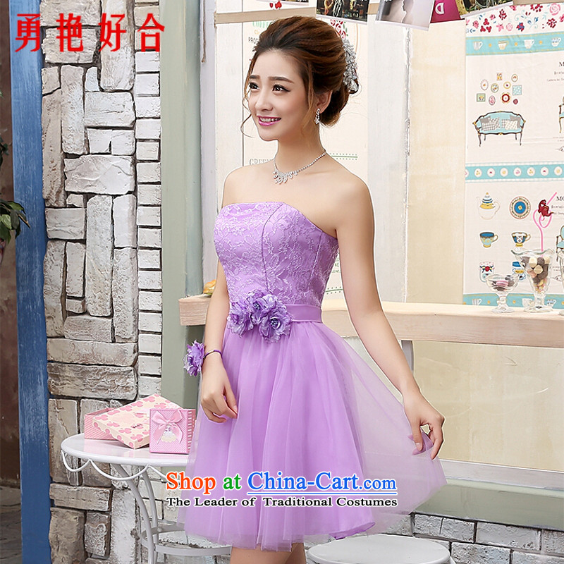 Yong-yeon and banquet evening dresses 2015 Summer new stylish shoulder purple mission sister bridesmaid mission in a small dress short skirt lilac bush chest?M
