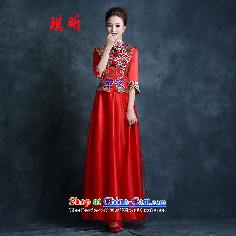 Xin Qi bride wedding dress bows to the new 2015 Autumn cheongsam dress red Stylish retro lace Sau San evening dress red�L