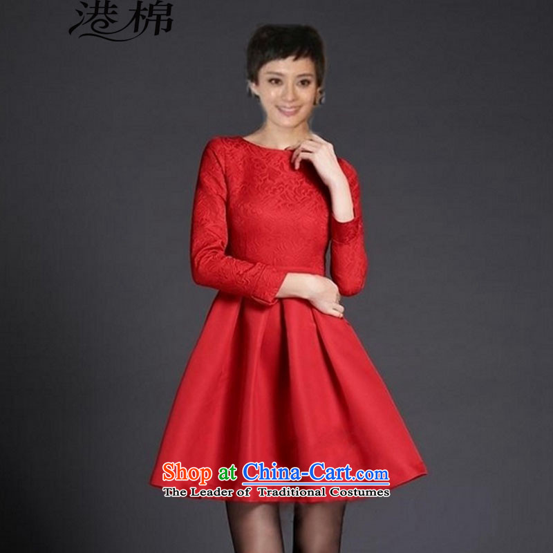 The International Standard 2015 large red dress married women serving drink autumn and winter jackets annual long-sleeved red dress banquet?XL