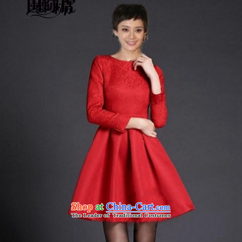 Hong Kong Cotton 2015 large red dress married women serving drink autumn and winter jackets annual long-sleeved red dress banquet?S