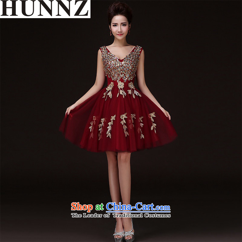 The spring and summer of 2015 New HUNNZ stylish banquet bride dress bows bridesmaid services services wine red?L