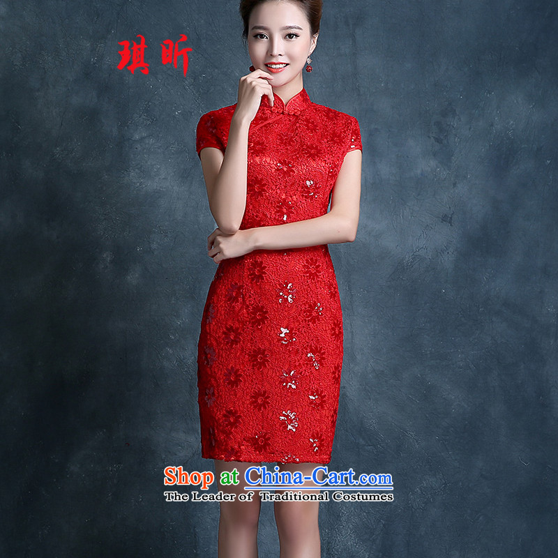 Xin Qi marriages qipao bows services 2015 new evening dresses red Stylish retro Sau San improved short skirt red?S