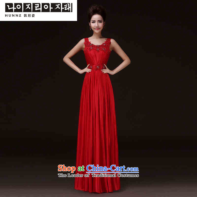 The spring and summer of 2015 New hannizi) red shoulders the spring and summer stylish banquet service bridal dresses bows red?S