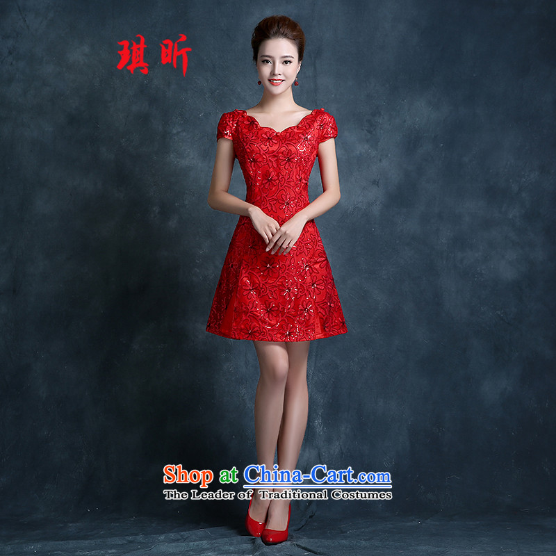 Xin Qi bows services 2015 new marriages qipao stylish short red sunflowers Sau San evening dresses Sau San video thin red聽XL