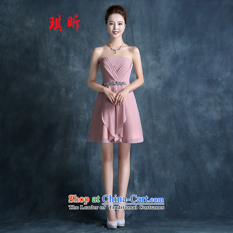 Xin Qi bridesmaid mission dress in spring and autumn 2015 new short) bridesmaid services sister skirt banquet bridesmaid skirt small dress skirt the usual zongzi red?S