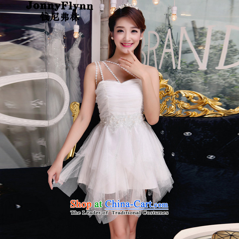 The 2015 autumn flag shuai manually staple pearl diamond temperament and Sau San chest dresses bridesmaid groups dress skirt white?S