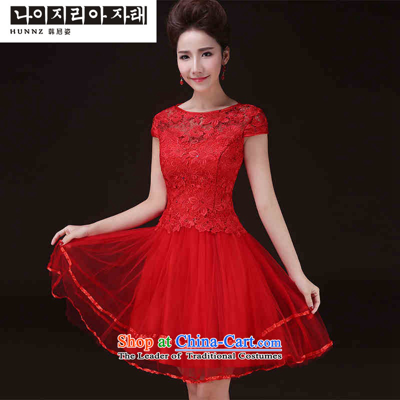 The new 2015 hannizi spring and summer short, stylish red field shoulder marriages banquet evening dresses female red�L