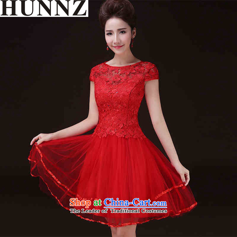 The new 2015 HUNNZ spring and summer one field and the relatively short time of red shoulder banquet evening dresses bride dress bows services red?L