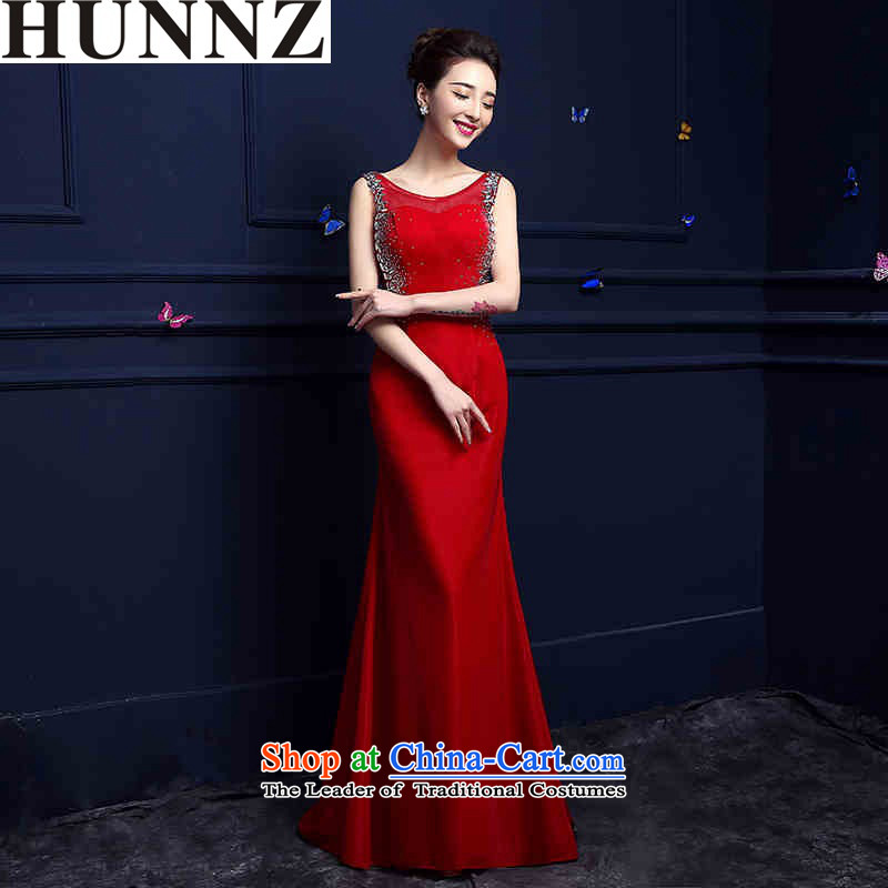 2015 Red Tail HUNNZ evening dress with a stylish long banquet service bridal dresses bows red?L