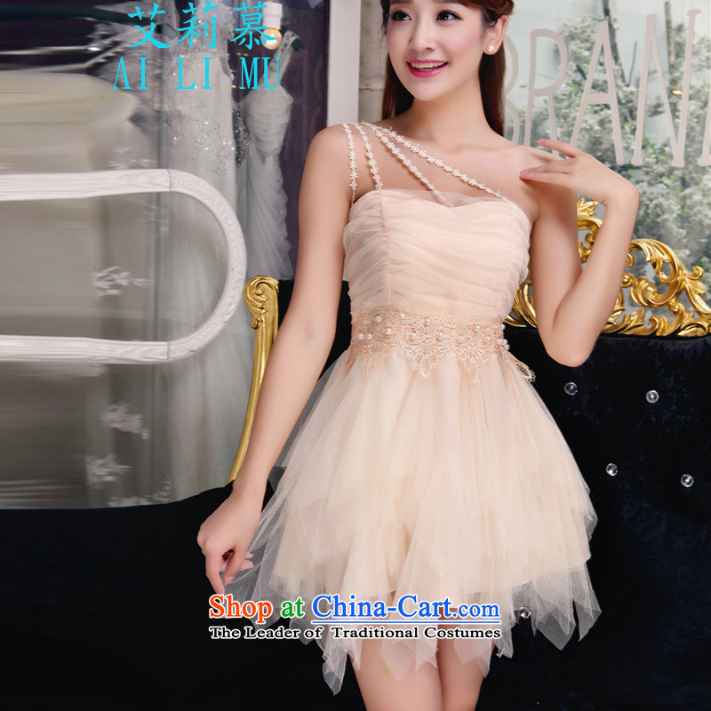 The?2015 autumn Elisa manually staple pearl diamond temperament and Sau San chest dresses bridesmaid groups dress skirt P318BR8875 light yellow?S