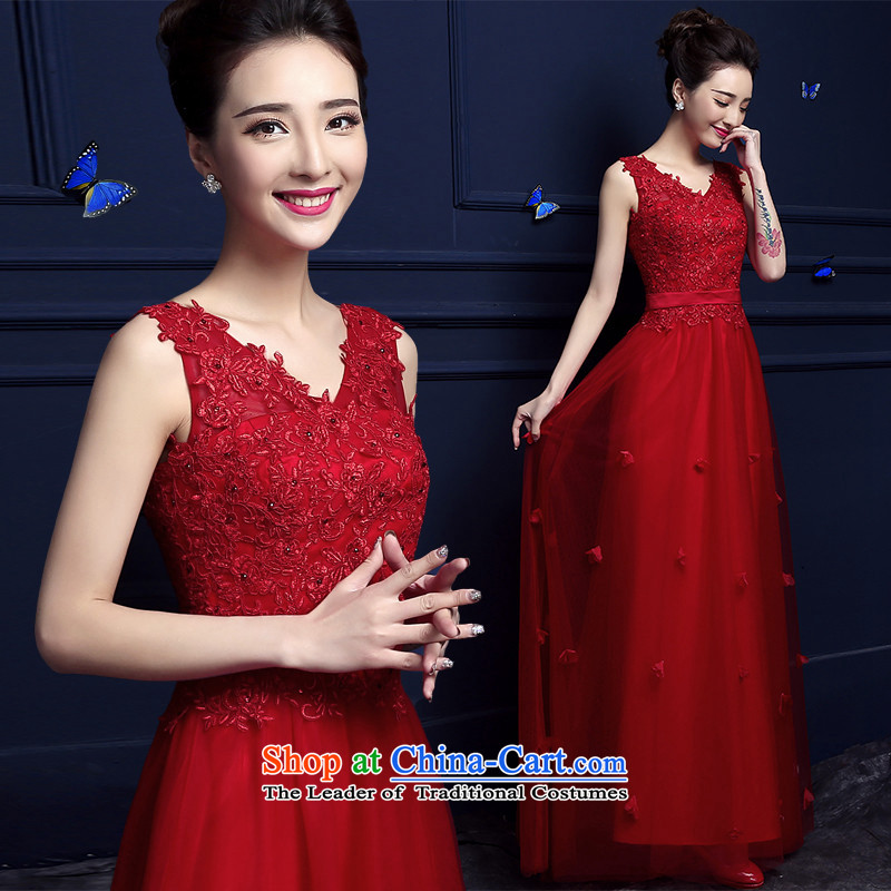 The new 2015 hannizi spring and summer Korean Red double-shoulder length of stylish wedding dress bows service bridal dresses red?S