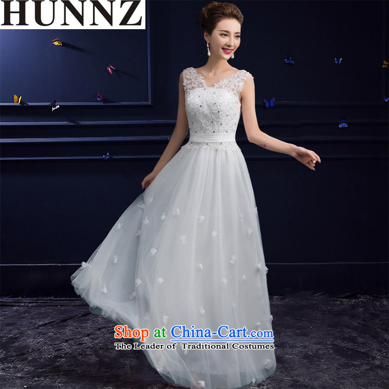 The new 2015 HUNNZ spring and summer stylish red double-shoulder length of wedding dress uniform white?M toasting champagne Banquet