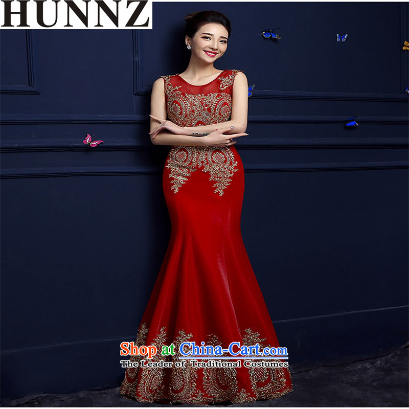 ? ?The bride HUNNZ dress 2015 Spring/Summer new stylish red shoulders crowsfoot lace banquet dress bows services red?L