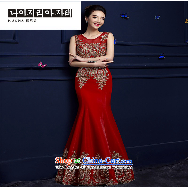 The spring and summer of 2015 New hannizi) Bride bows services long shoulders red lace banquet dress crowsfoot red?XXL
