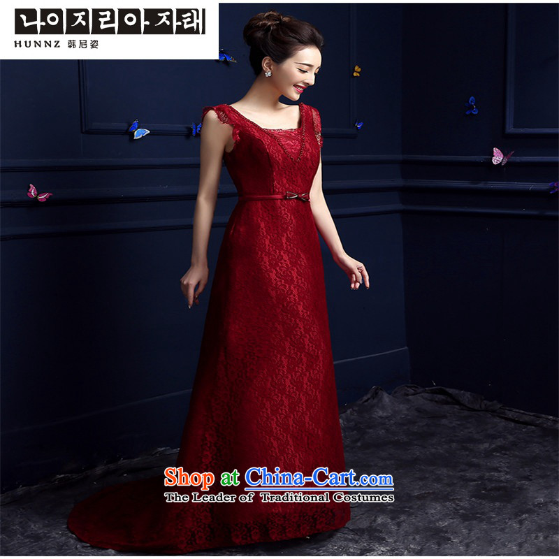 The spring and summer of 2015 New hannizi) red stylish upmarket betrothal festival bridal dresses bows serving wine red?M
