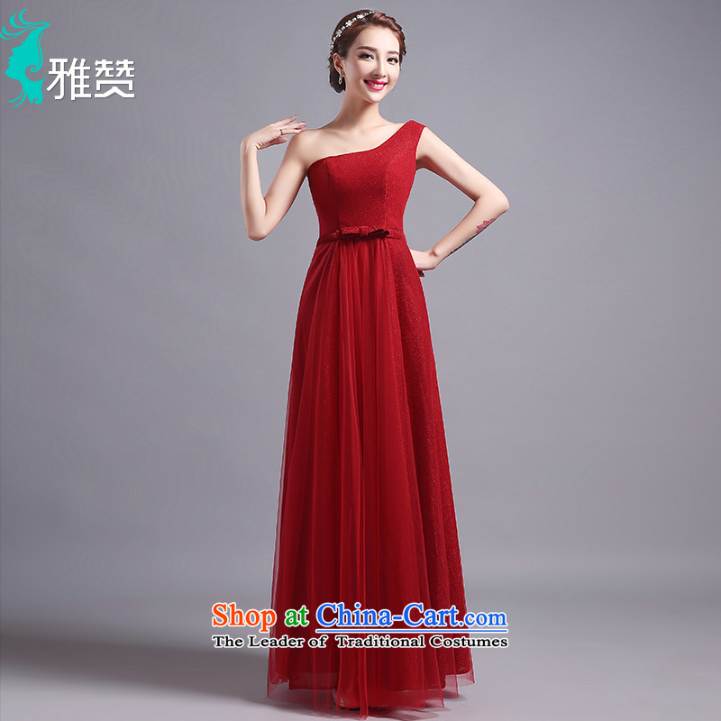Jacob Chan bows dress long single shoulder banquet dinner dress the summer and autumn of 2015 the new bride betrothal wedding dress Foutune of video thin wine red?S