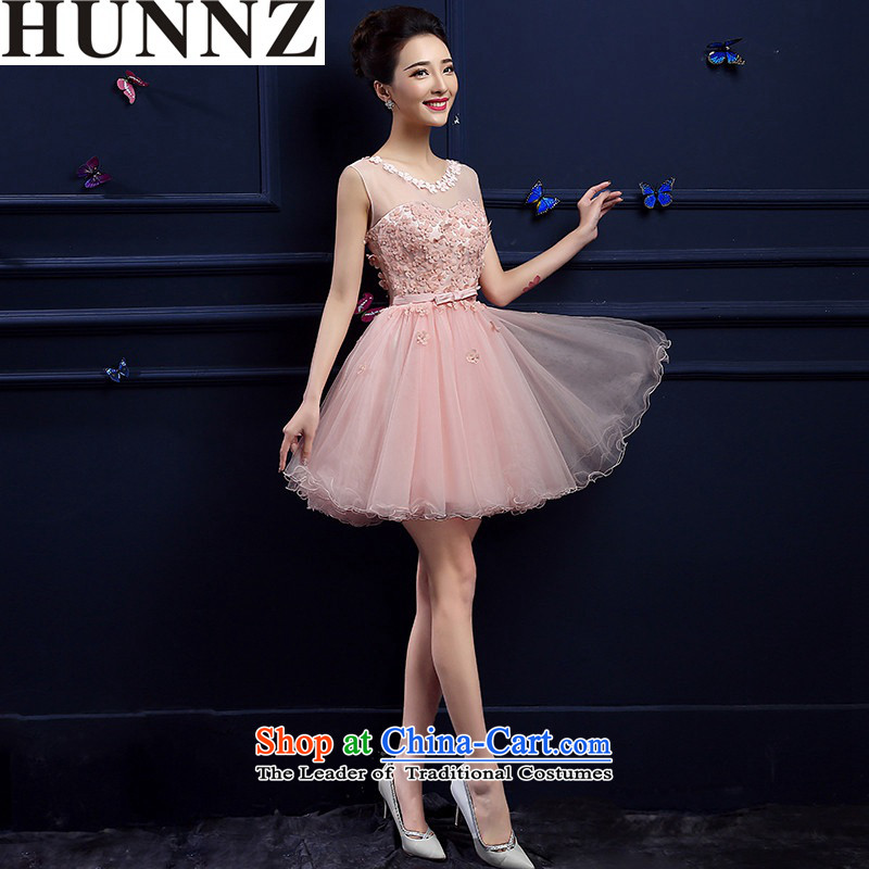New stylish 2015 HUNNZ spring and summer short of red dress bridal dresses banquet bows services Pink?M