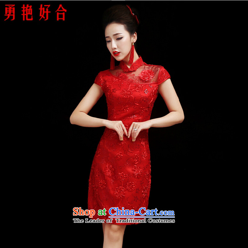 Yong-yeon and marriages qipao bows to the spring and summer of 2015, the new Chinese Antique wedding crowsfoot red dress length) red short,�XL