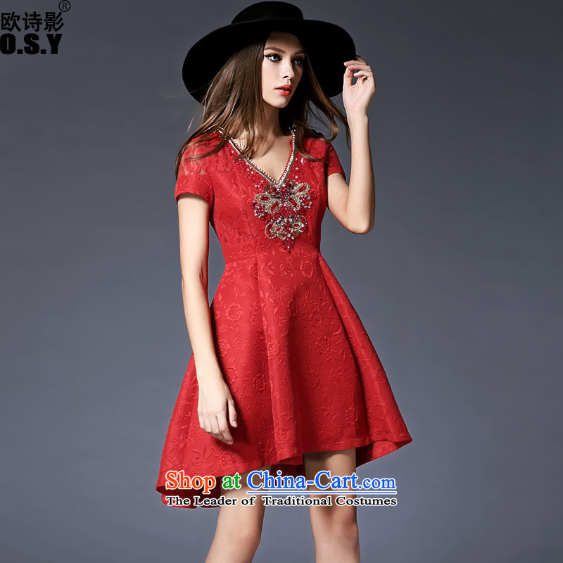 The OSCE Poetry Film 2015 new women's temperament Sau San V-Neck banquet night replacing the door onto dress bridesmaid to marry heavy industry for the Pearl River Delta bride dovetail bows to the skirt red�XL