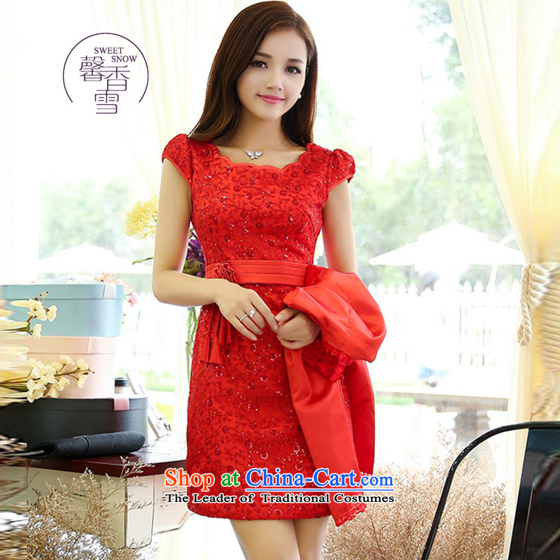 The fragrant incense snow fall 2015 New Sau San two kits dresses, Ms. aristocratic wind red bride a marriage bows evening dresses red?L