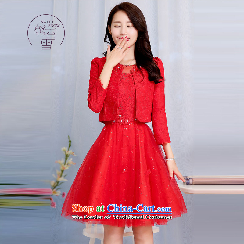 The fragrant incense snow fall 2015 new fluoroscopy round-neck collar fit lace flowers Sau San-video thin dresses female two kits and elegant reminiscent of the dresses red?XL