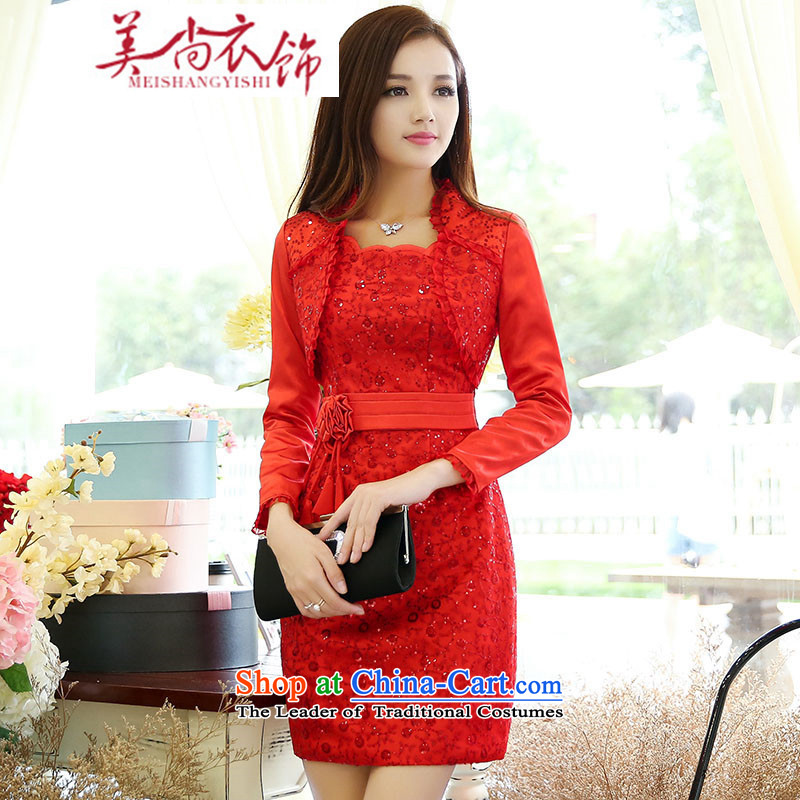 The United States is the?new 2015 clothing cheongsam dress marriage Chinese Dress spring and summer red lace retro bride bows services red?XL