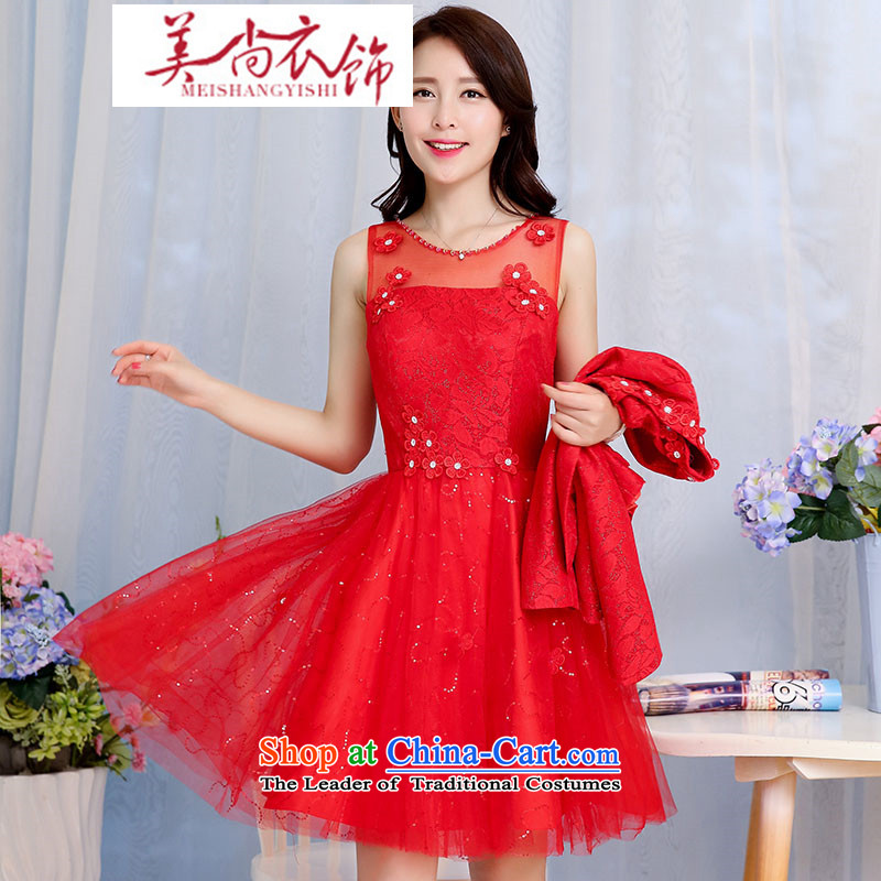 The United States is still clothing spring and autumn 2015 new bride wedding dress bows services back door lace dresses women's two kits are red XL