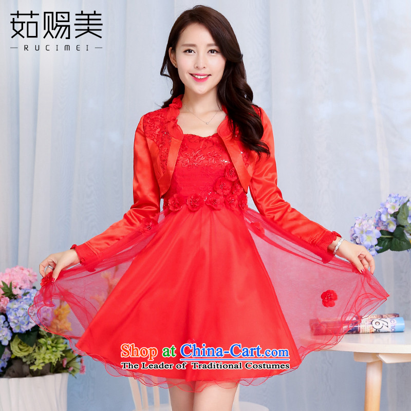 Ju has new spring and autumn 2015 American married women dress female short bows, wipe the chest lace Sau San dresses two kits red?XL