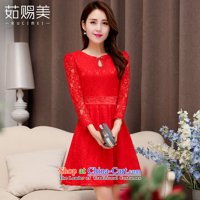Ju has new spring and autumn 2015 American married women dress female short bows, lace Sau San dresses RED?M