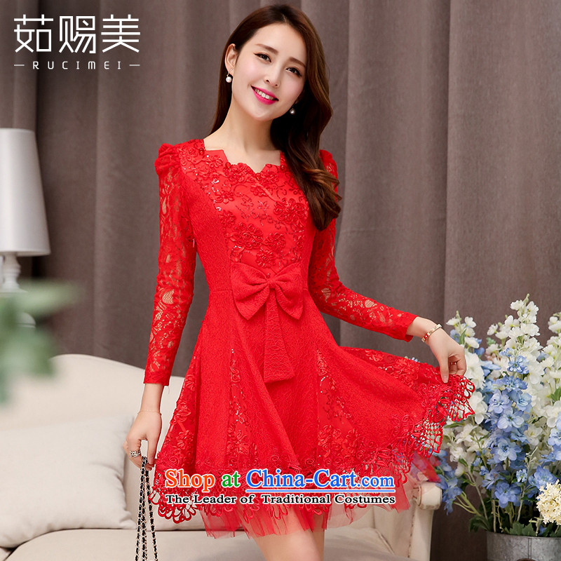 Ju has new spring and autumn 2015 American married women dress female short bows, lace Sau San dresses red?XL