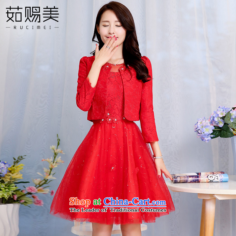 Ju has new spring and autumn 2015 American married women dress female short bows, lace Sau San dresses two red?XXXL Kit