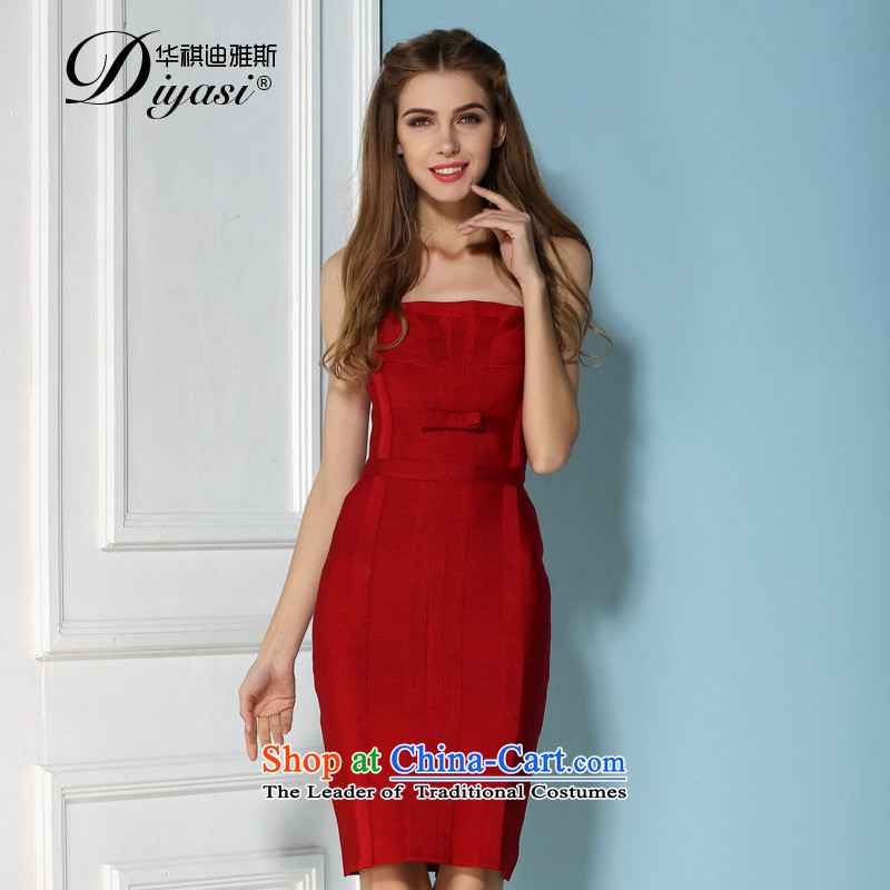 Europe and the spring and summer new sexy anointed chest bandages wrapped chest dresses & Jeon Ji-hyeon, bows to Sau San evening dresses RED?M