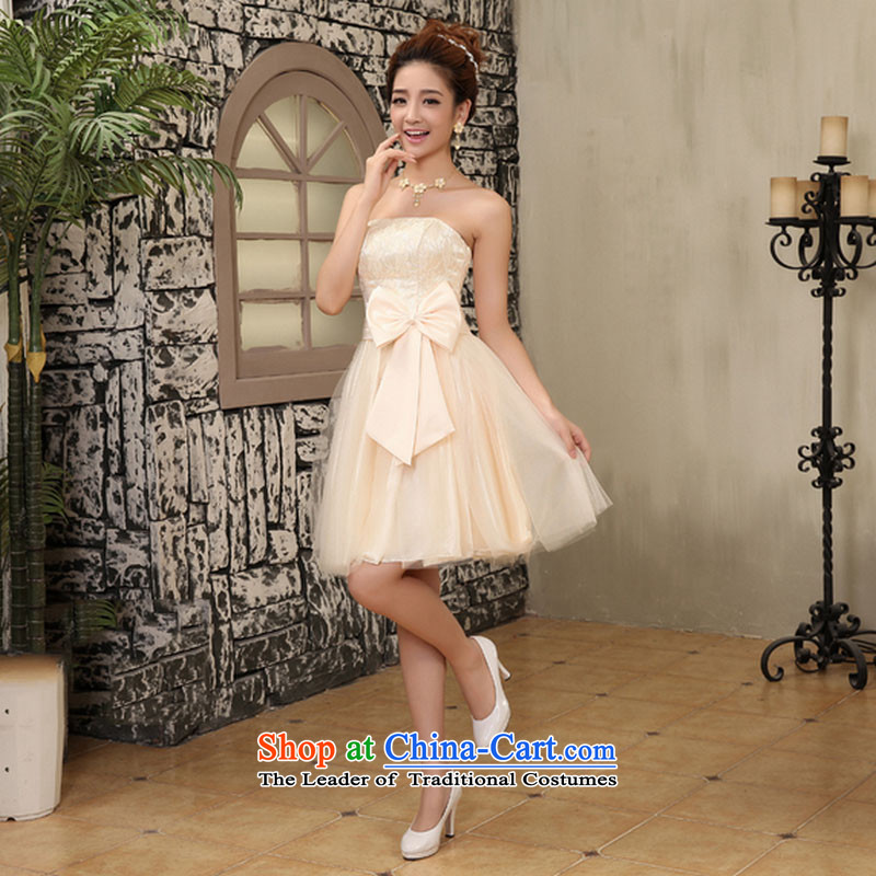 Optimize video_ and chest brides short wedding dress red bow tie bows bridesmaid dinner serving New bon bon skirt mz2105 champagne color聽XL