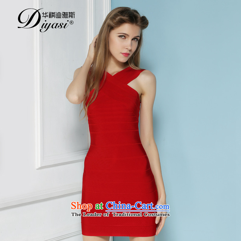 Summer 2015 new sexy beauty cross your shoulders bridesmaid dress bandages package and dresses high-end custom RED?M