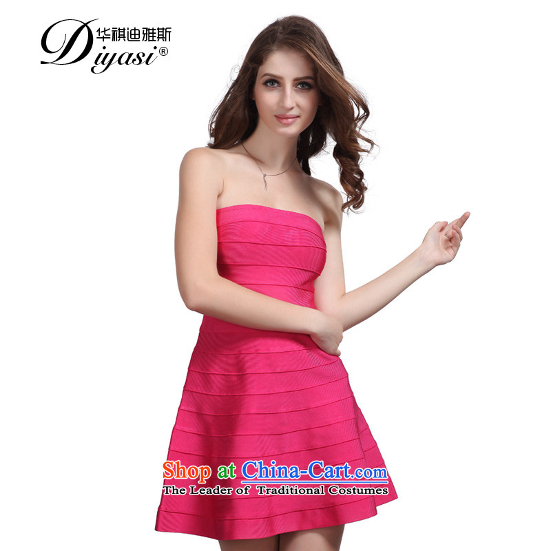 Hua Qi Avandia, temperament and chest, bare shoulders bride bows evening banquet female Dress Short, Bandages dresses RED?M