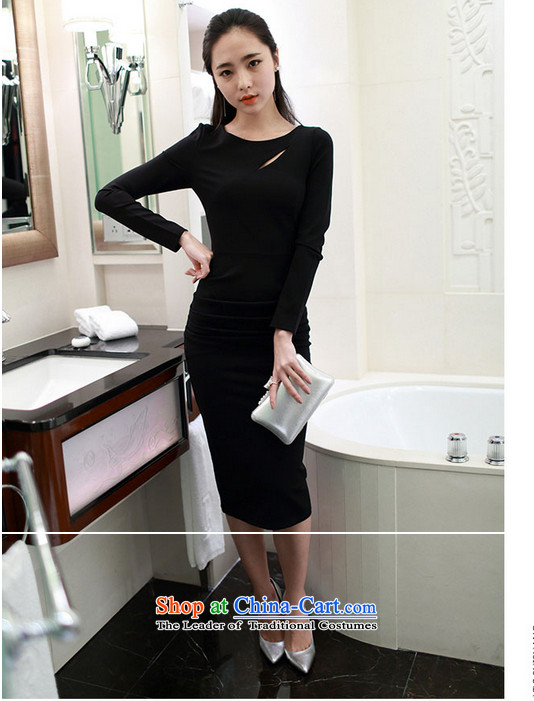 Yue Tan 2015 new Korean temperament and sexy Sau San long-sleeved back forming the dresses engraving the forklift truck dress black聽M picture, prices, brand platters! The elections are supplied in the national character of distribution, so action, buy now enjoy more preferential! As soon as possible.