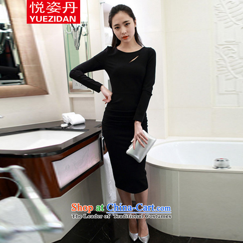 Yue Tan 2015 new Korean temperament and sexy Sau San long-sleeved back forming the dresses engraving the forklift truck dress black燤