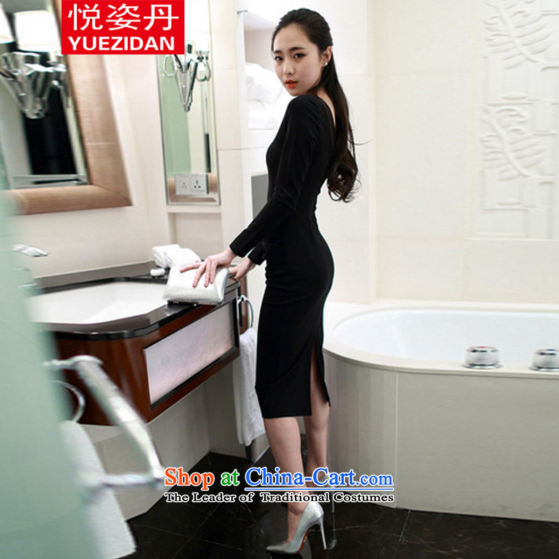 Yue Tan 2015 new Korean temperament and sexy Sau San long-sleeved back forming the dresses engraving the forklift truck black dress聽M Yue Chi Bin Laden has been pressed shopping on the Internet