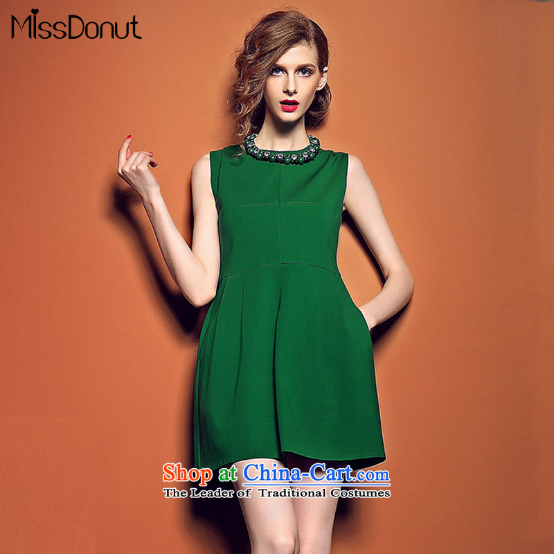 The new Europe and the summer missdonut2015 stylish heavy industry booking Pearl Sau San video thin dress red sleeveless jacket apron skirt green S
