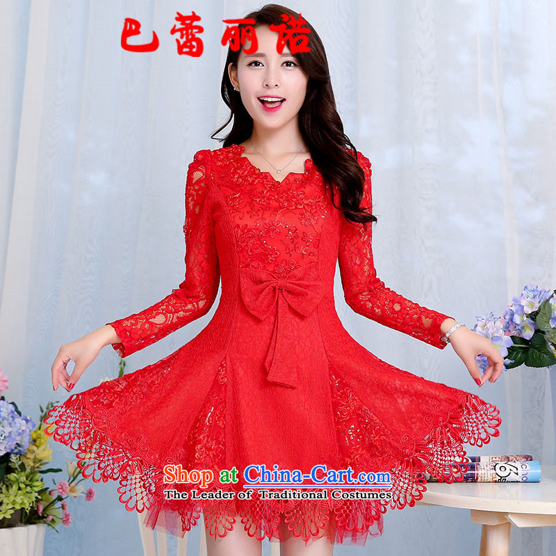 The buds of 2015 summer and fall, new stylish Sau San dresses marriage bride wedding bows service long bridesmaid small red dress?L