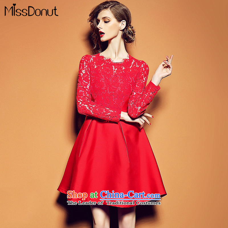The fall of new, missdonut2015 female Western Foutune of video thin temperament aristocratic red lace dresses wedding dress sister skirt RED?M