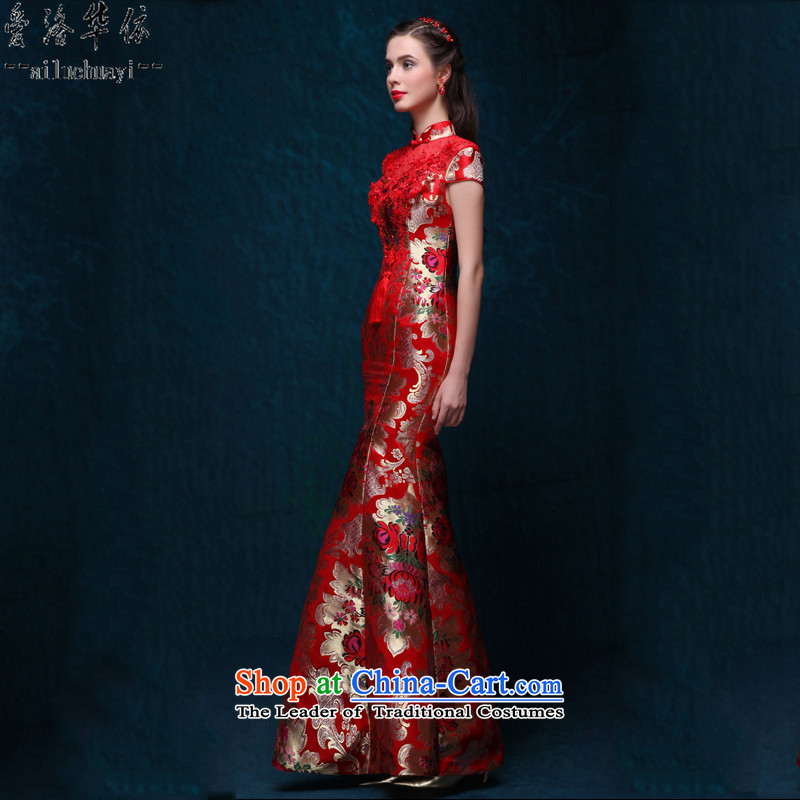 However service long retro Sau San embroidery crowsfoot red 2015 new autumn and winter marriages dress embroidered red banquet long crowsfoot evening dress Red 7 days as the shipment is not Not Switch