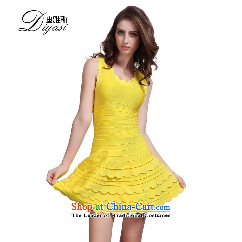 Hua Qi Avandia, temperament bare shoulders in shape and body-girl evening banquet bows Dress Short, Bandages dresses yellow?L