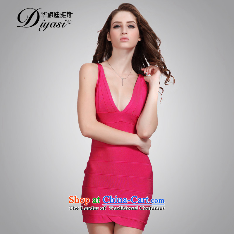 China flag Avandia, better red sexy V-Neck Sau San bandages skirt style banquet package and western dress short of the Red?XS
