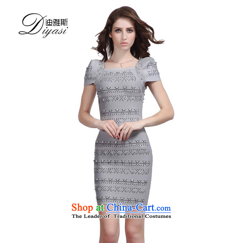 Hua Qi Avandia, Western staples pearl gray dress upscale bandages_sexy package and banquet dinner dress short, nails pearl gray?L