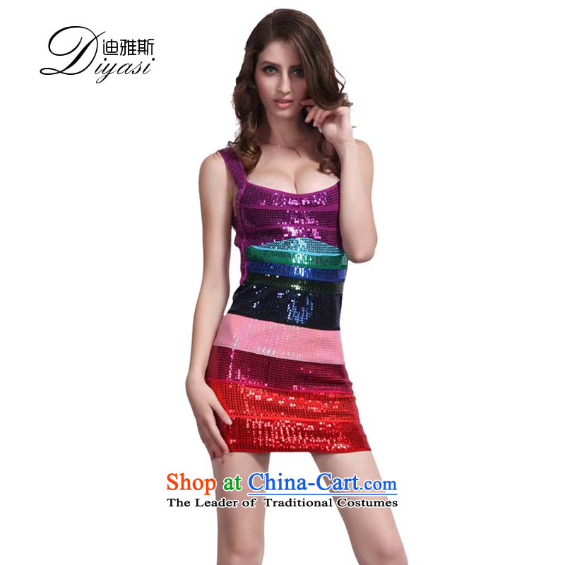 2015 new nightclubs and on tight package chip performance dresses and sexy dance back large luxury bandages dress gradient color pearl?M